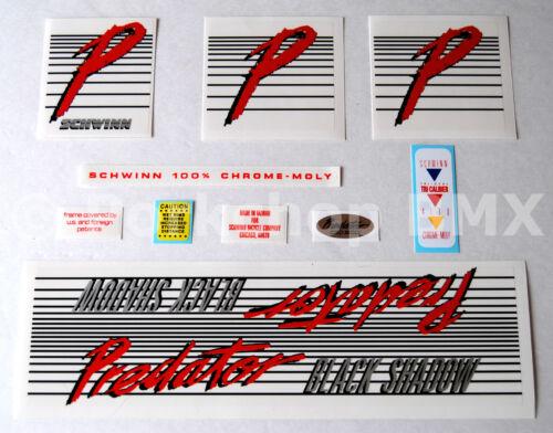 Officially licensed 1985 Schwinn Predator Black Shadow BMX decal sticker set