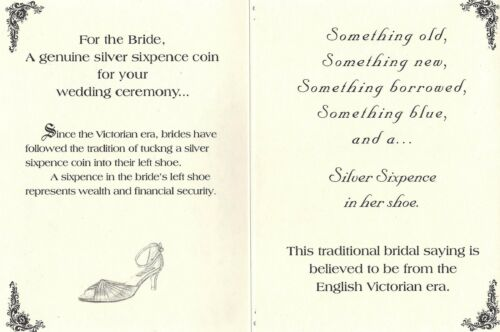 Wedding Card w//King Edward VII Lucky .925 Silver Sixpence Coin for Bride/'s Shoe