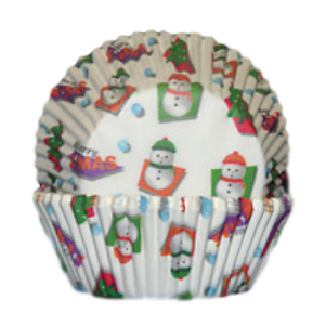Christmas-Snowman-White-Baking-Cups-50-Pack-Xmas-Patty-Pans-Cupcake-Papers-Xmas