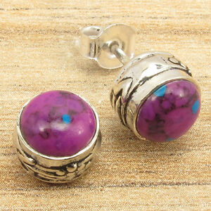 Silver-Plated-HANDMADE-Jewelry-PURPLE-COPPER-TURQUOISE-Stud-Earrings