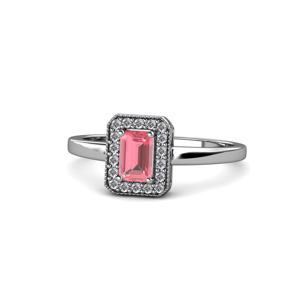 Pink Tourmaline & Diamond Halo Engagement Ring 0.70 Carat tw 14K gold JP 109310
