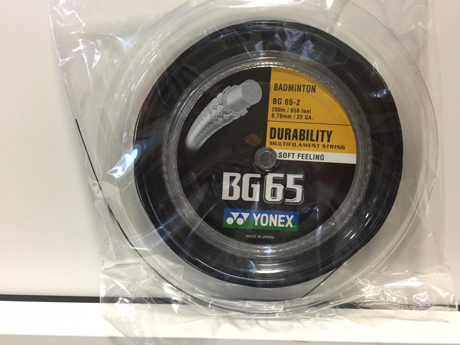 Yonex BG65 Bespannung Saite Badminton Badminton Saite 200m Rolle verschiedene Farben -NEU- 703608