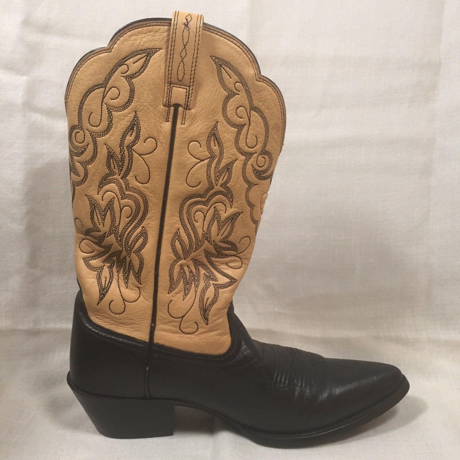 Ariat 15781 pulgadas Puntera Blanda botas De Cuero Cuero Cuero Negro Bronceado Vaquera Occidental Talla 7B nos 37.5 euros  tienda de ventas outlet