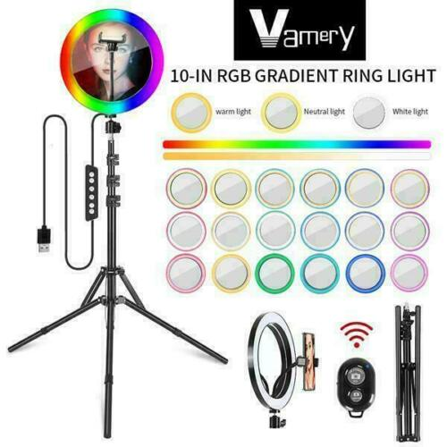 10 Inch RGB With Beauty Mirror And Tripod Set LED Ring Light Kit Stand UK Stock