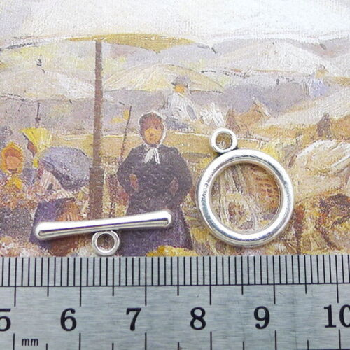 100sets tibetan silver color crafted round toggle clasps findings  A2814