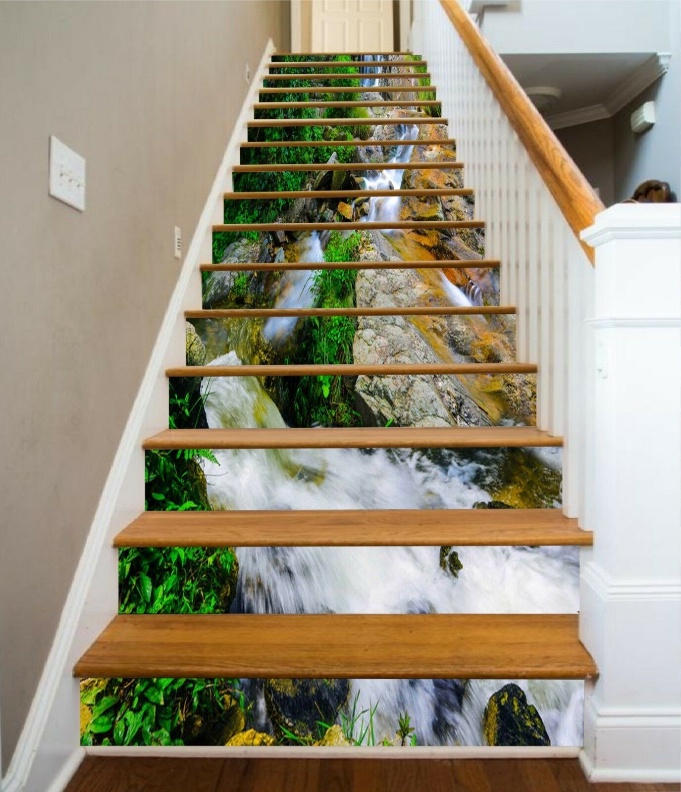 3D Stream Hills 12 Stair Risers Decoration Photo Mural Vinyl Decal Wallpaper CA