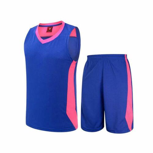 Mens Basketball Vest Jersey Tank Kit Training Gym Sport Top Pants Tracksuit Set