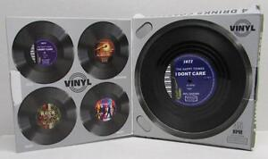 4 PC Vintage Vinyl 33 45 rpm Record COASTERS Cup Pad Coffee Table Mats Bar NEW