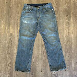 Seven 7 Jeans Hombre 36 X 32 Con Aspecto Envejecido Lavado Mediano Relaxed Fit Pantalones De Pierna Recta Ebay