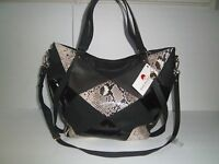 Big Buddha Womens Patchwork Crossbody Handbag Tote Faux Leather Extra Large