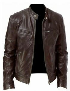 Men-039-s-Genuine-Cowhide-Leather-Jacket-Motorbike-Biker-Stylish-Jacket-Top-Coat