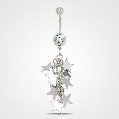 Rhinestone Dangle Body Piercing Jewelry Ball Barbell Bar Belly Button Navel Ring