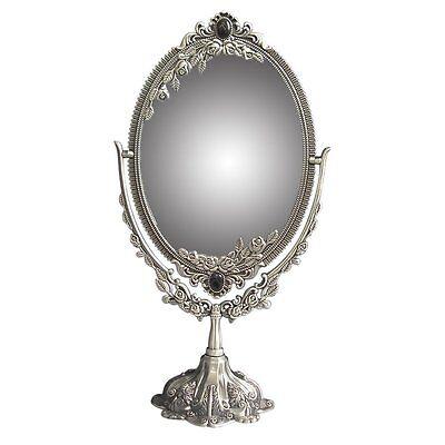 Vintage Two Sided Swivel Oval Desktop Vanity Makeup Mirror with Embossed Roses L