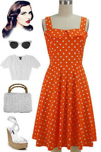 50s-Style-ORANGE-with-Big-White-POLKA-DOT-Fold-Over-Bust-PEGGY-SUE-Sun-Dress
