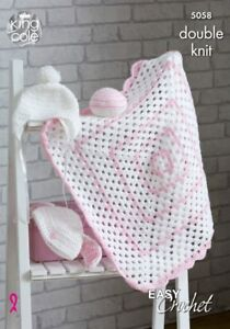 King-Cole-5058-DK-Easy-Crochet-Pattern-Baby-Blanket-Hat-Ball