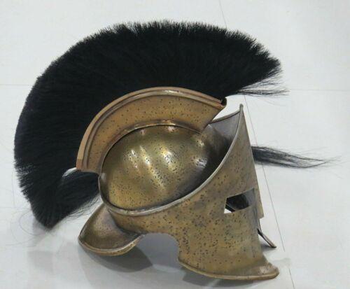 Medieval Armor KING LEONIDAS GREEK SPARTAN 300 Roman Helmet on LONG PLUME KJUI