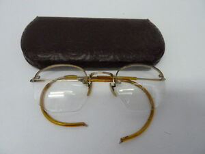 6bf09048b0c5 ANTIQUE SHURON 12K GF GOLD FILLED 1 10 WIRE RIM HEXAGON EYEGLASS ...