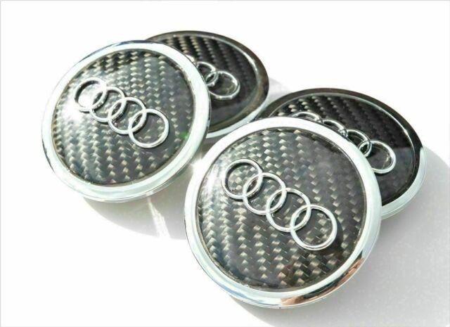 Audi 4pcs 69mm Wheel Center Caps Black Carbon