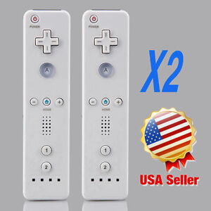 Lot-2-Wireless-Remote-Controller-Wrist-for-Nintendo-Wii-Game-White-USA-V-F