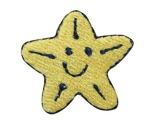 Yellow Smiley Face Star Embroidery Applique Patch