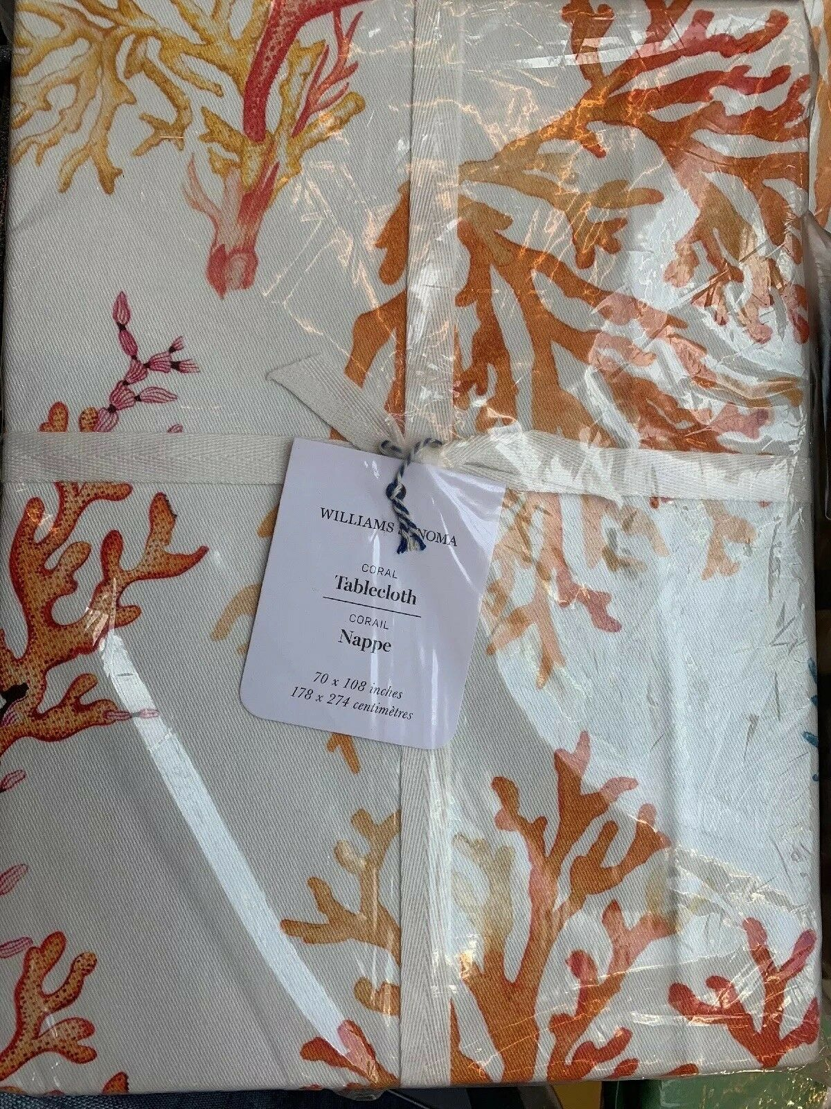Williams Sonoma Multi Couleurs Ocean Scatterouge Coral Tablecloth 70x108 Beach Beach