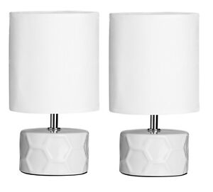 Set-Of-2-White-Honeycomb-Table-Lamp-Fabric-Shade-With-Ceramic-Base-Home-Decor