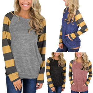 Women-039-s-Tunic-Tops-Stripes-Long-Sleeve-Pullover-Loose-Tops-Blouse-Shirts-T-Shirt