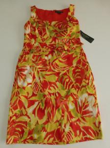 Lauren Ralph Lauren Dress Womens Size 12P Woven Tropical Floral Dress New
