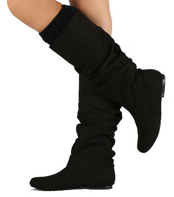 Women's Flat Ruched Boot Almond Toe