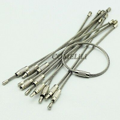 "10PCS Stainless Steel Wire Keychains Cable Screw Clasp Key Ring 12cm 4.7"" L 2mm"