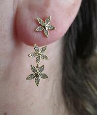 Pave CZ Flower Star Front Back Ear Jacket Yellow Gold Plated Earrings
