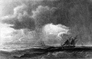 100% De Qualité Marine - Orage En Mer - Gravure Du 19e (de Théodore Gudin, Peintre De La Marine)