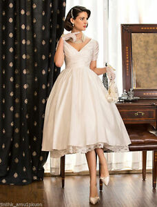 Details about 2019 Vintage Wedding Dresses Ball Bridal Gown Short Satin Tea  Length Plus Size