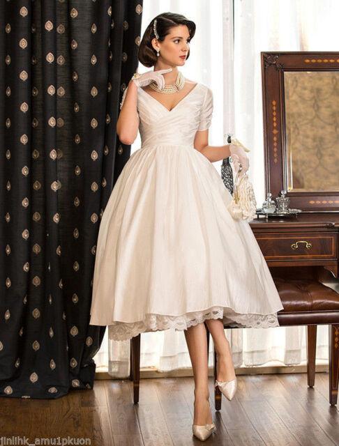 Plus Size Vintage Wedding Dresses.2019 Vintage Wedding Dresses Ball Bridal Gown Short Satin Tea Length Plus Size