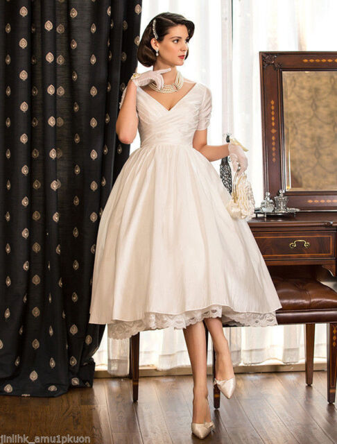 Retro Wedding Dresses.2019 Vintage Wedding Dresses Ball Bridal Gown Short Satin Tea Length Plus Size