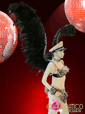 CHARISMATICO Exotic Crystal edge Raven Black feathered cabaret Divas Angel wings