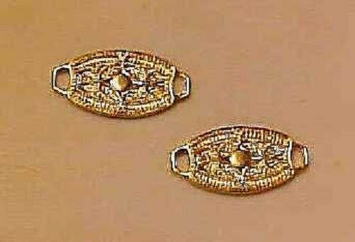 Gold Plated Brass PAIR 1:9 Model Horse Scale FANCY OVALS WITH TABS Style 2