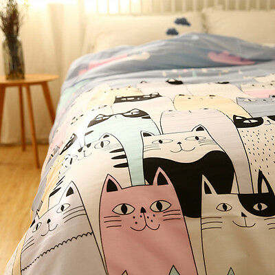 City Night Sky Cute Cats Gray Cotton Bedding Single Quilt Cover Bedclothes 1PC