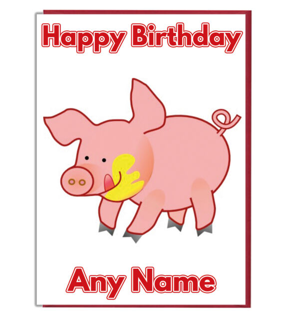Personalised Cartoon Pig Farm Birthday Card Mum Dad Son Daughter