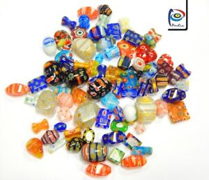 40-Millefiori-Perlen-Bunte-Perlenmischung-Glasperlen-Schmuck-4-20-mm-BEST-R194