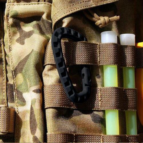 5pcs mousqueton extérieurD-Ring porte-clés clip en plastique boucle de camp U3