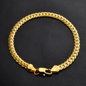 18K-Yellow-Gold-Plating-Women-Men-Bracelet-Curb-Chain-Fashion-Bangle-Jewelry-New