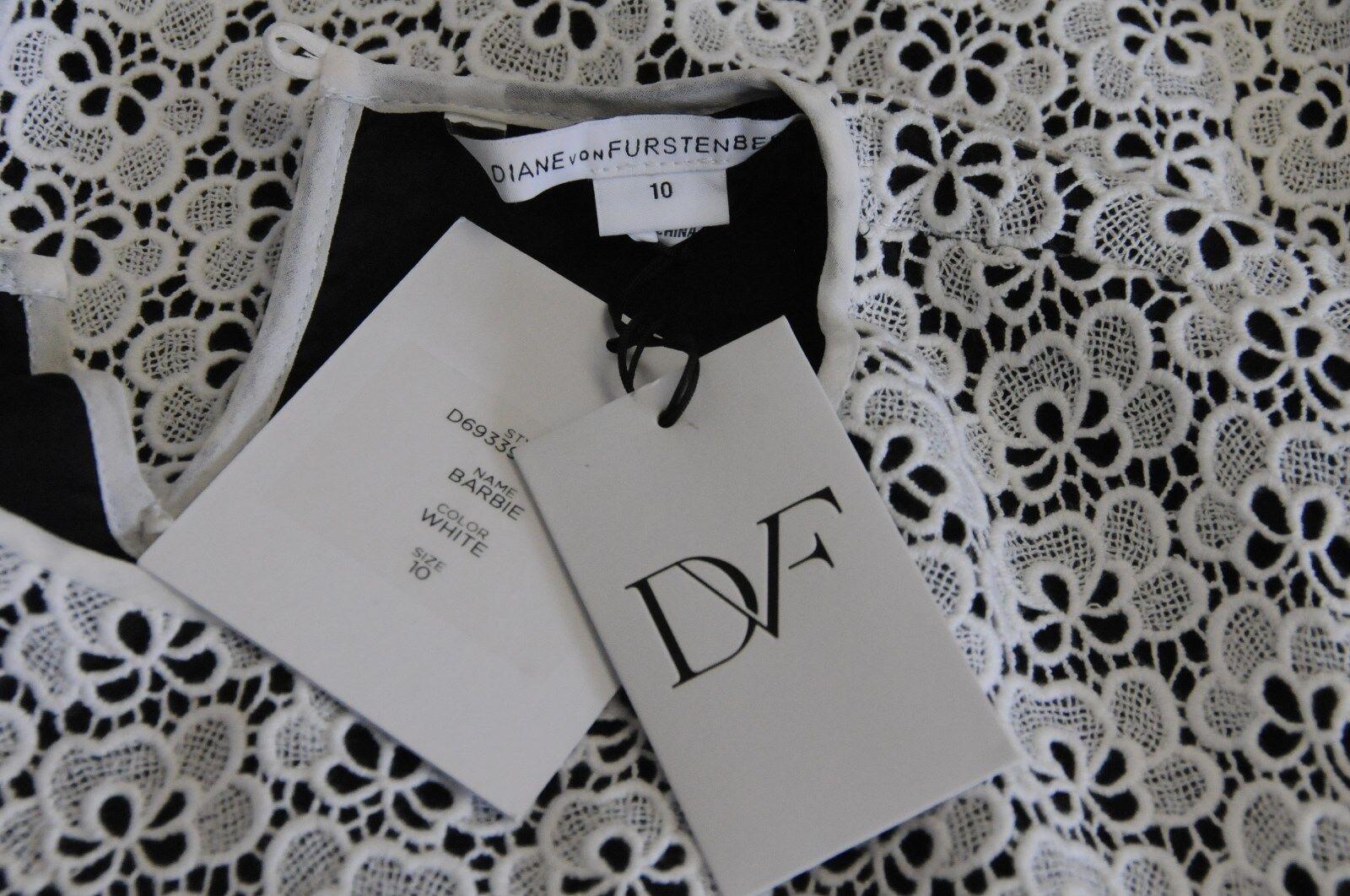 Nuovo Originale Dvf Diane Diane Diane Von Furstenberg Barbie Bianco Uncinetto Abito in Pizzo 1333f9