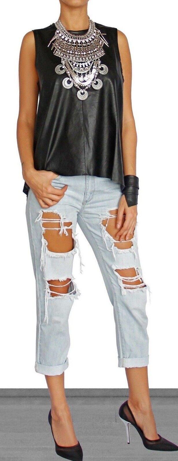 Boyfriend effet vieilli Light Wash Denim Jeans 100% coton, Größe S S (26 US)