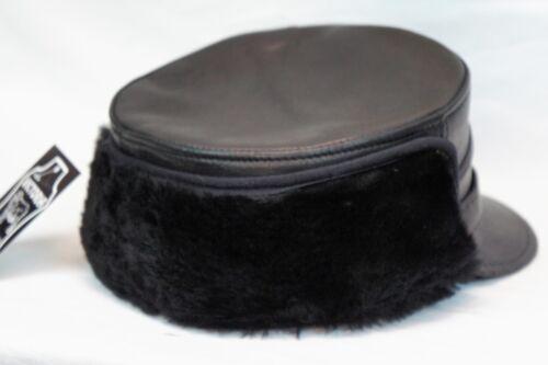 Noir 100/% Peau de Mouton Shearling Cuir capitaine Fourrure Militaire Hiver Hommes Chapeau S-3XL
