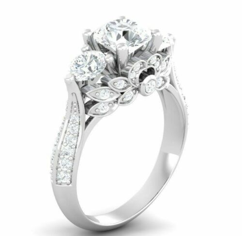 Solitaire Antique 3.11 Ct Diamond 3 Stone Engagement Wedding Ring 14K White Gold