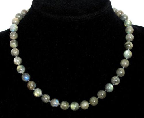 New 8mm Hot Natural Gemstone Necklace Labradorite Round Beads 18/'/'