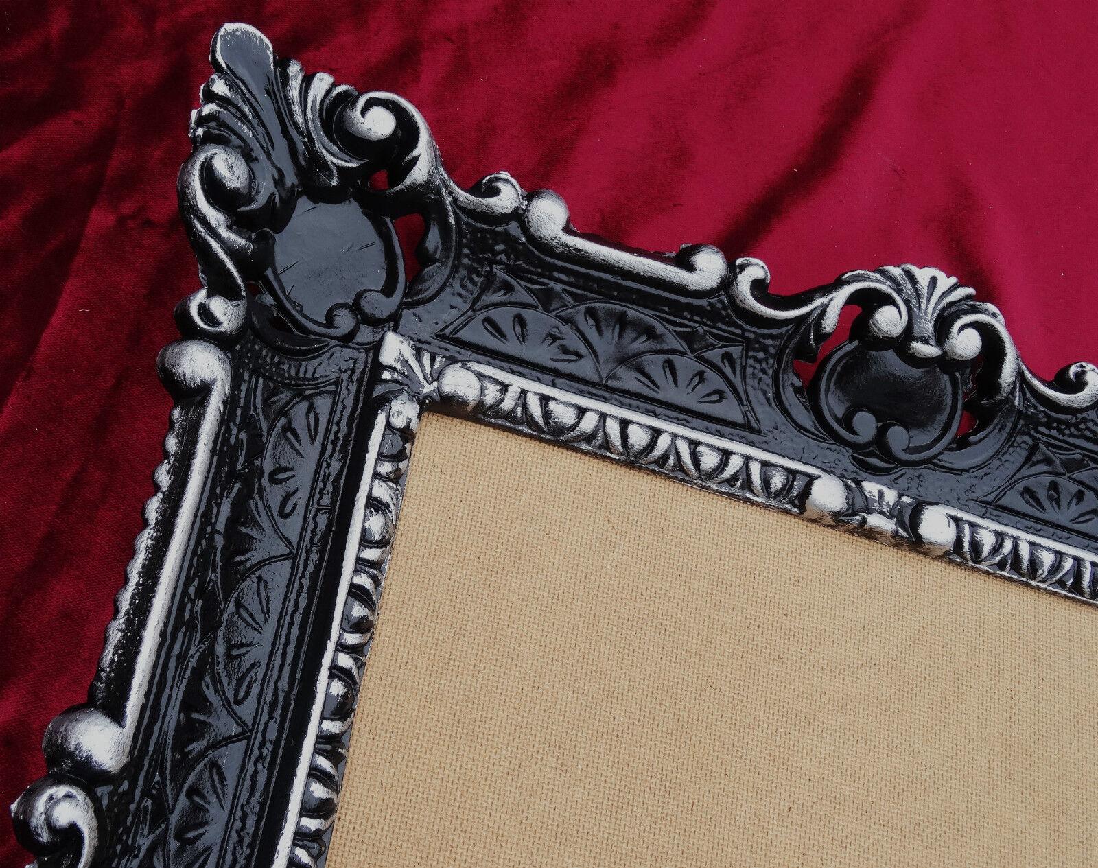 Antike Barock Bilderrahmen in SCHWARZ SILBER 56X46 Fotorahmen 30*40 Bild Rahmen