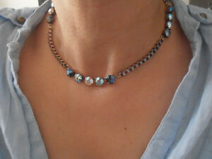 Swarovski Necklace, Tennis Choker, Crystal Blue Multicolors in Antique Silver