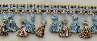 "3.5"" Tassel Fringe Silver Blue, Chocolate, Gold Matched Gimp Bullion Fringe Cord"